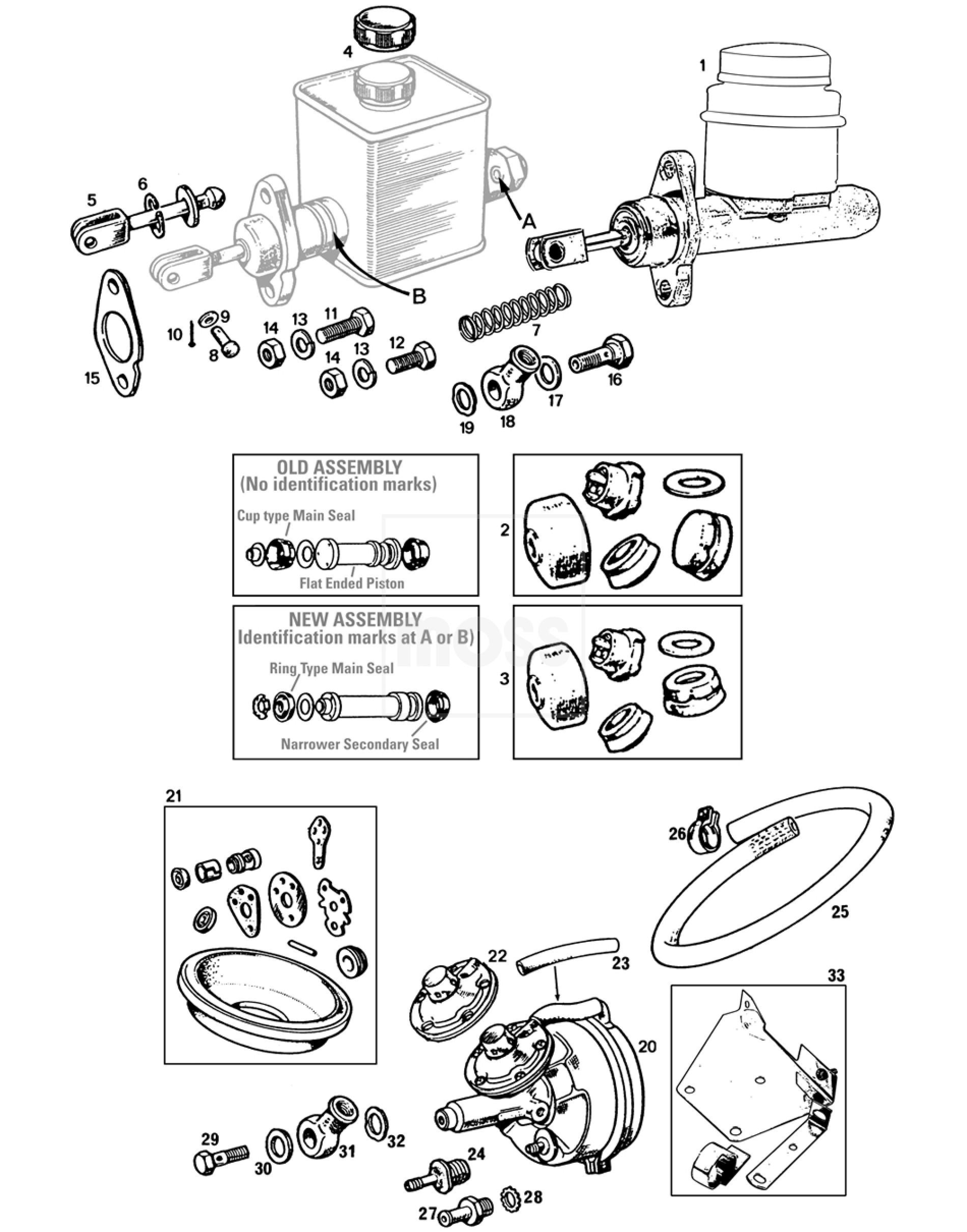 Brake Master Cylinder Amp Servo Single Line System Mgb