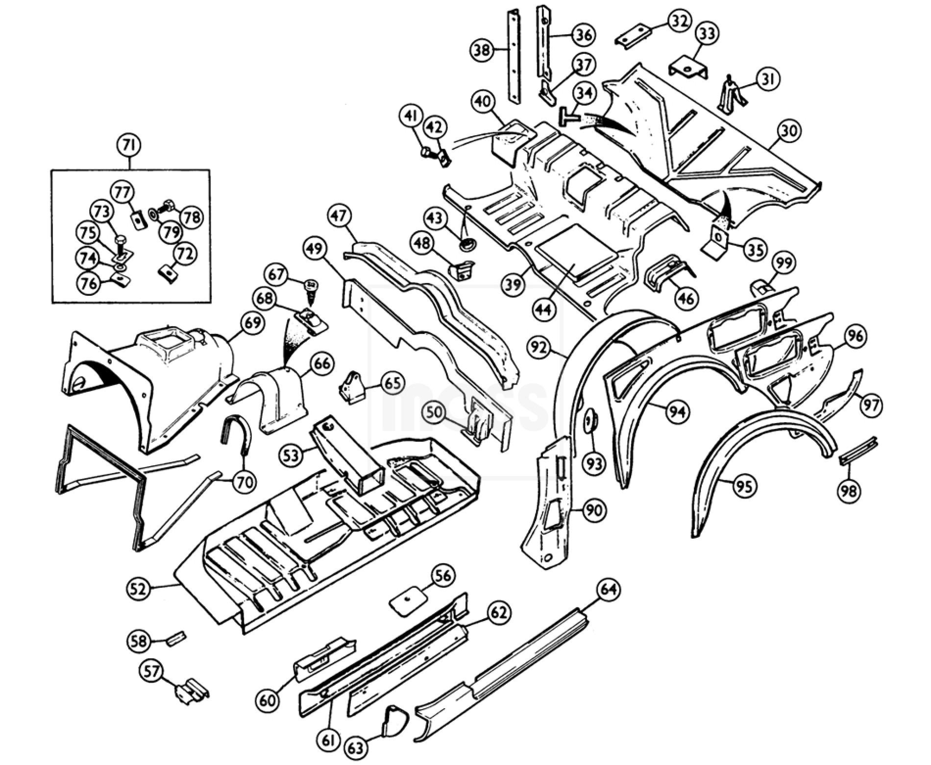 internal body panels  floors  u0026 rear