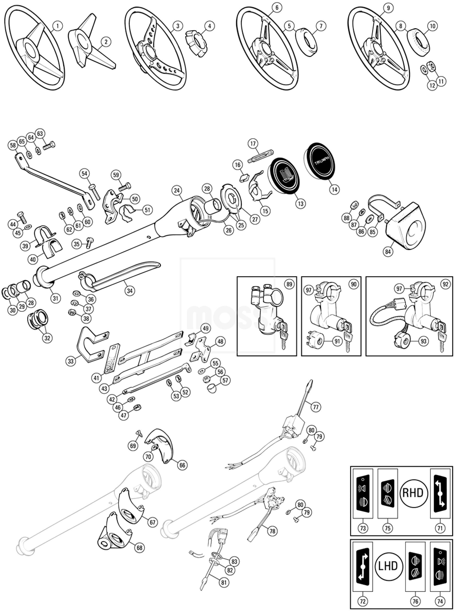 steering wheels  columns  u0026 fittings - tr5-6