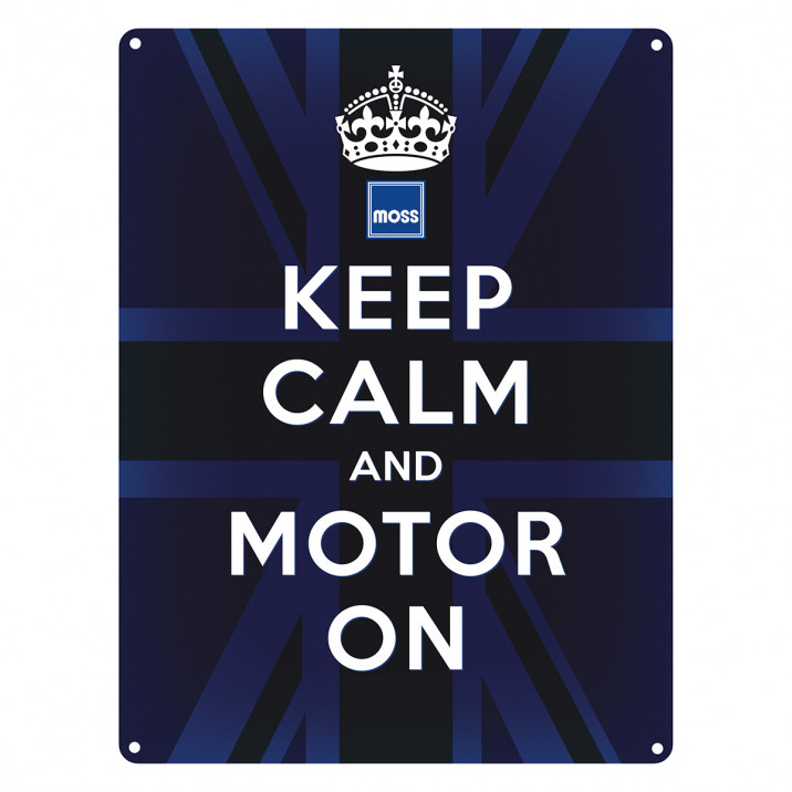 Sign, Keep calm and motor on, vintage, metal