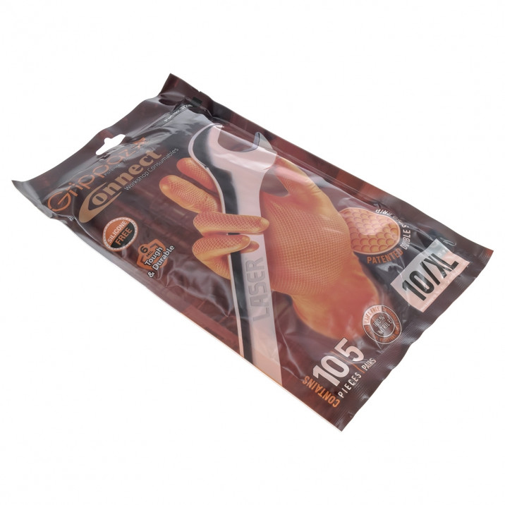 Gloves, nitrile, extra large, pack of 10, Grippaz