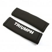Seat Belt Shoulder Pads, black, silver TR logo, pair