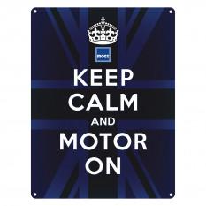 Sign, Keep calm and motor on, vintage, metal