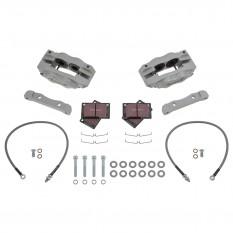 Jaguar E-Type [Series II] Brake Kit, front, 4 pot, silver, standard discs, Fosseway Performance