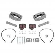 Jaguar E-Type [Series III] Brake Kit, front, 4 pot, silver, standard discs, Fosseway Performance