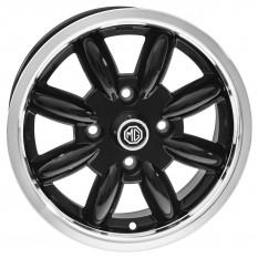 "Wheel, Minator, 8 spoke, aluminium, black/polished rim, bolt-on, 14"" x 5.5"""