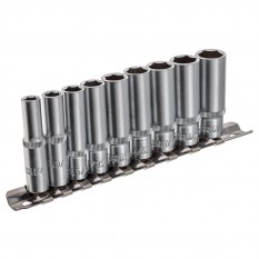 "Socket Set, 1/4"" drive, deep, 9 piece, AF"