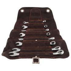 Spanner Set, metric, leather tool roll, 8 piece