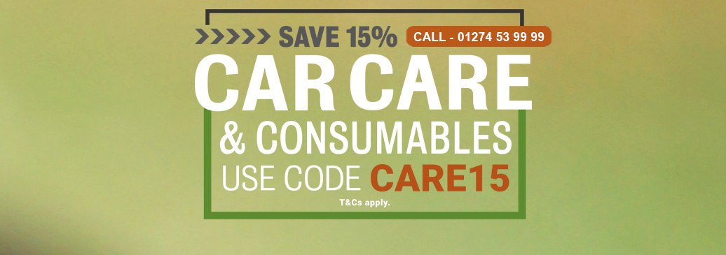 Use Discount code CARE15 to save 15%* on selected Car Care & Consumables!